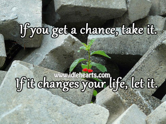 If you get a chance, take it. If it changes your life, let it. Image