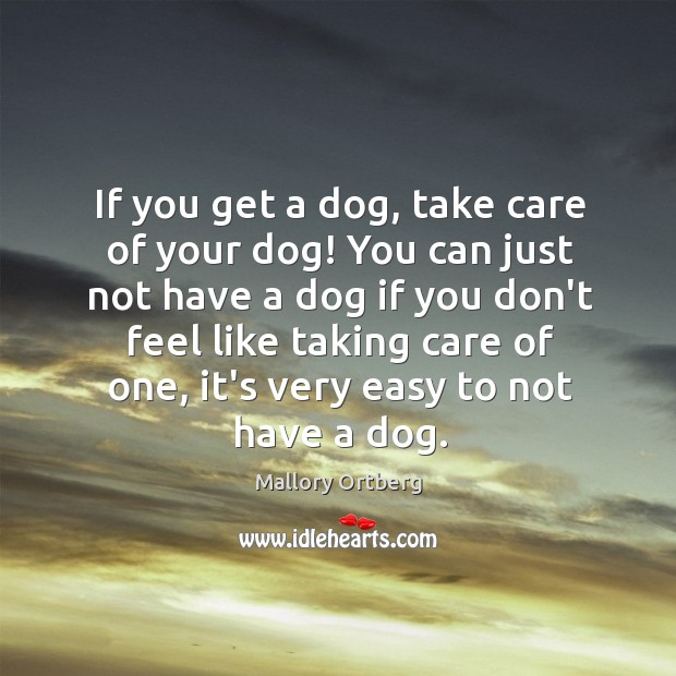 If you get a dog, take care of your dog! You can Image