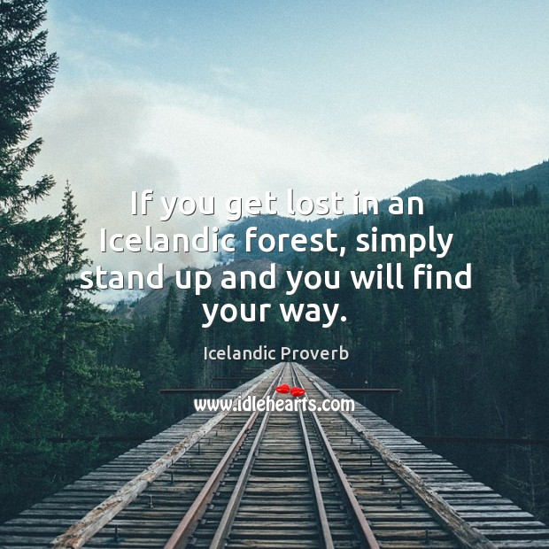 If you get lost in an icelandic forest, simply stand up and you will find your way. Icelandic Proverbs Image
