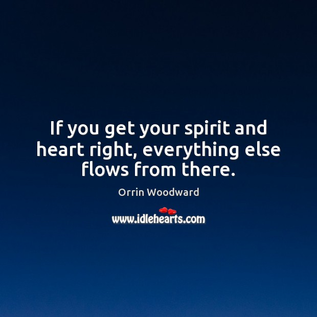 If you get your spirit and heart right, everything else flows from there. Image