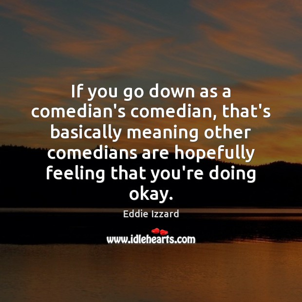If you go down as a comedian's comedian, that's basically meaning other Eddie Izzard Picture Quote