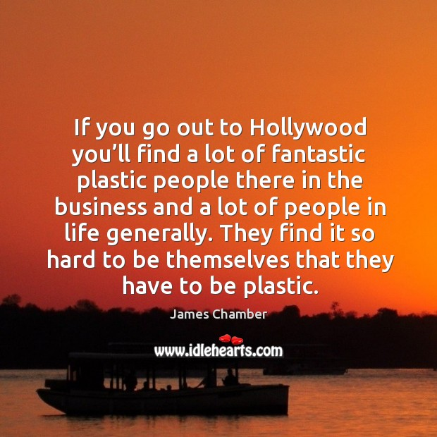 If you go out to hollywood you'll find a lot of fantastic plastic people there in the Image