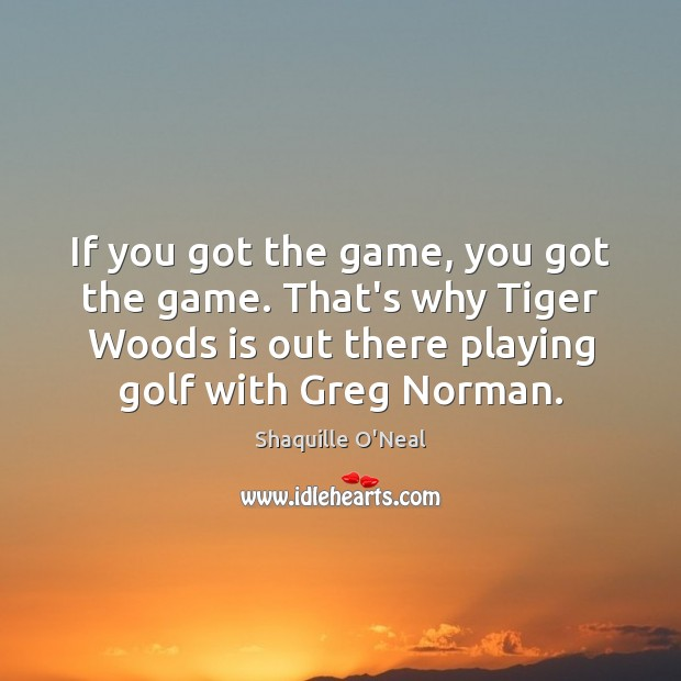 If you got the game, you got the game. That's why Tiger Shaquille O'Neal Picture Quote