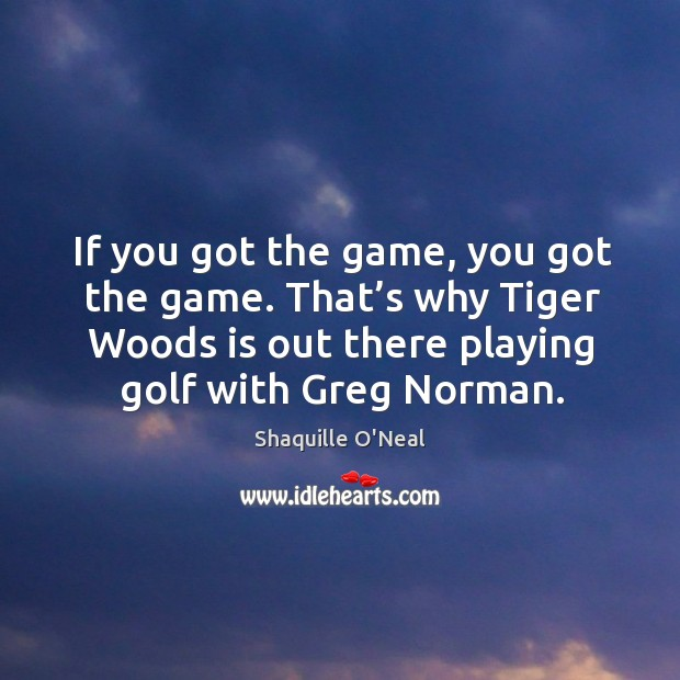 Image, If you got the game, you got the game. That's why tiger woods is out there playing golf with greg norman.