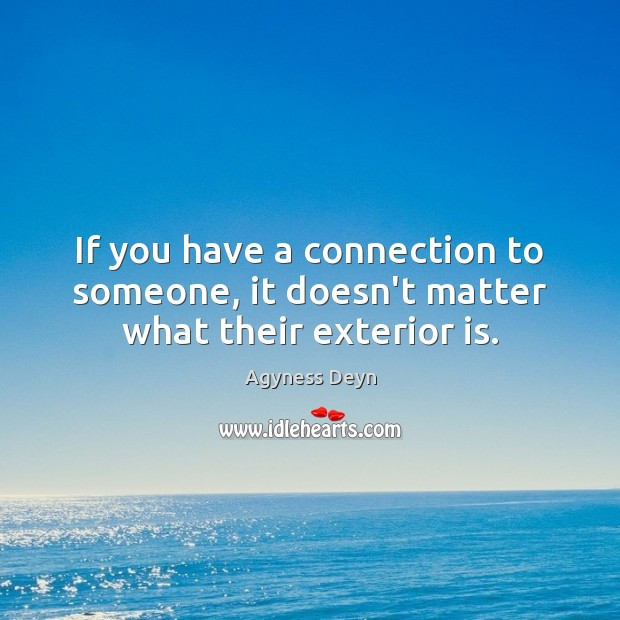 If you have a connection to someone, it doesn't matter what their exterior is. Agyness Deyn Picture Quote