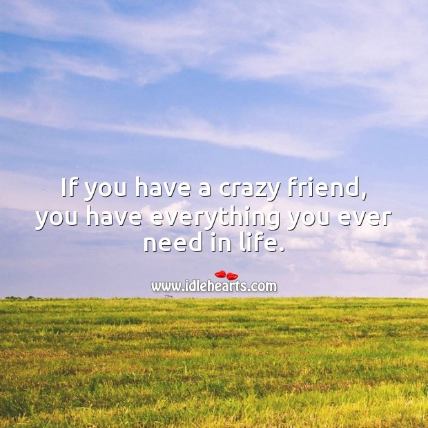 If you have a crazy friend, you have everything you ever need in life. Friendship Messages Image