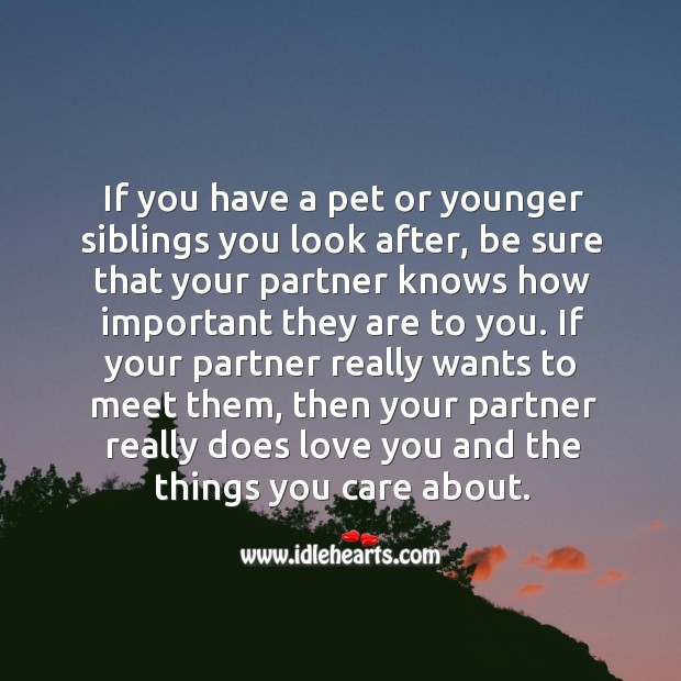 Image, If you have a pet or younger siblings you look after, be sure that your partner knows how important they are to you.