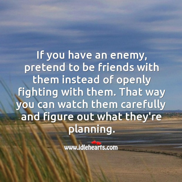 If you have an enemy, pretend to be friends with them. Image