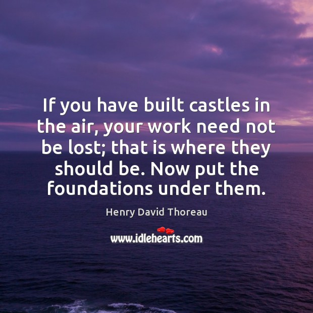 Image, If you have built castles in the air, your work need not