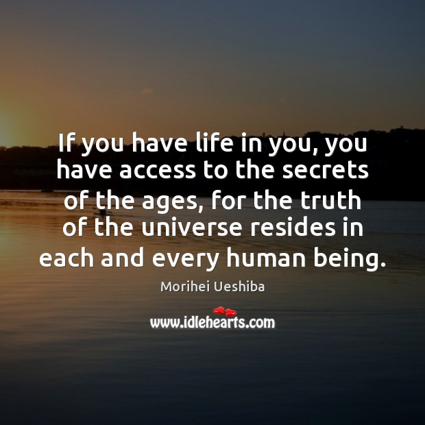 If you have life in you, you have access to the secrets Access Quotes Image