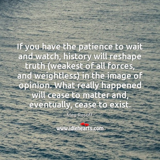 If you have the patience to wait and watch, history will reshape Meg Rosoff Picture Quote
