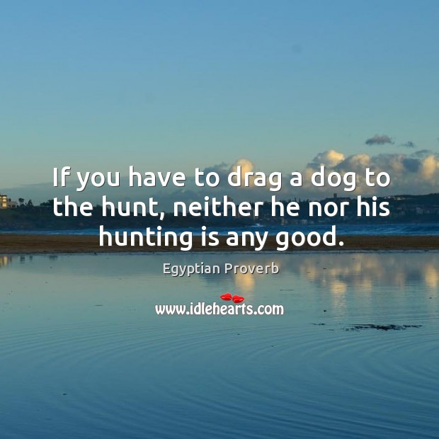 If you have to drag a dog to the hunt, neither he nor his hunting is any good. Egyptian Proverbs Image