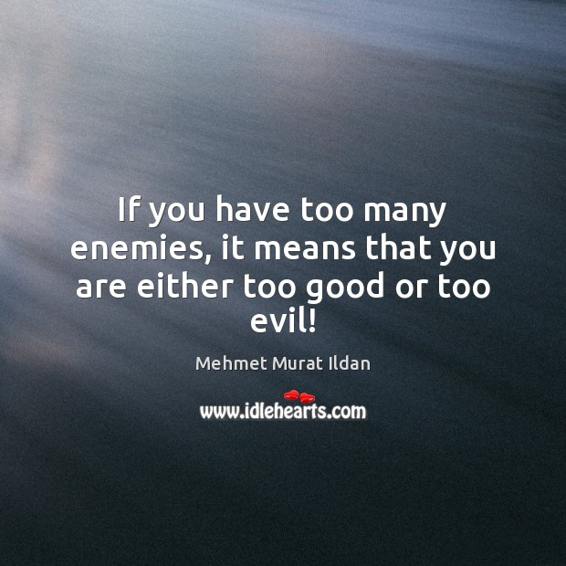 If you have too many enemies, it means that you are either too good or too evil! Mehmet Murat Ildan Picture Quote