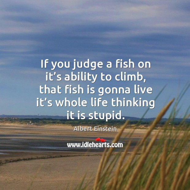 Image, If you judge a fish on it's ability to climb, that fish is gonna live it's whole life thinking it is stupid.