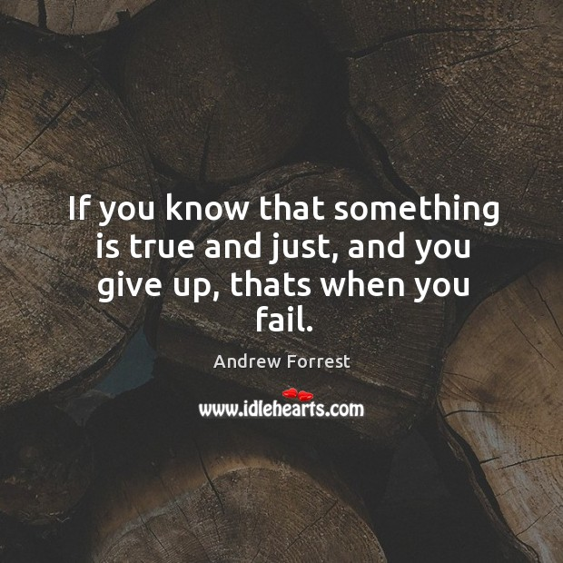 Image, If you know that something is true and just, and you give up, thats when you fail.