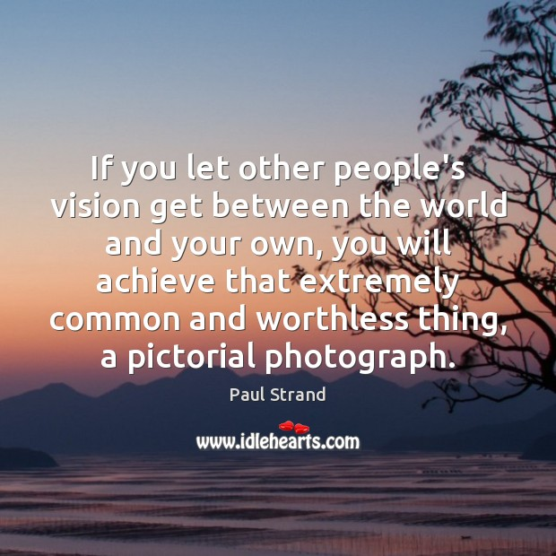 If you let other people's vision get between the world and your Image