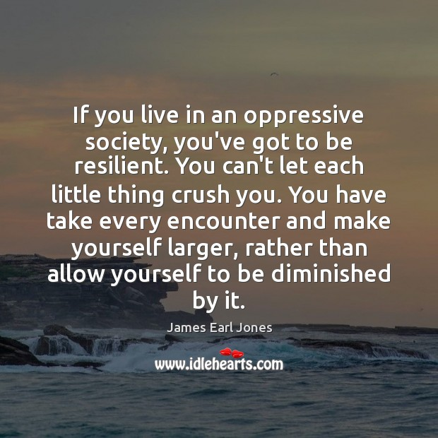 If you live in an oppressive society, you've got to be resilient. James Earl Jones Picture Quote