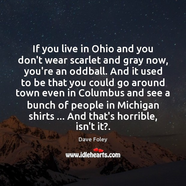 If you live in Ohio and you don't wear scarlet and gray Dave Foley Picture Quote