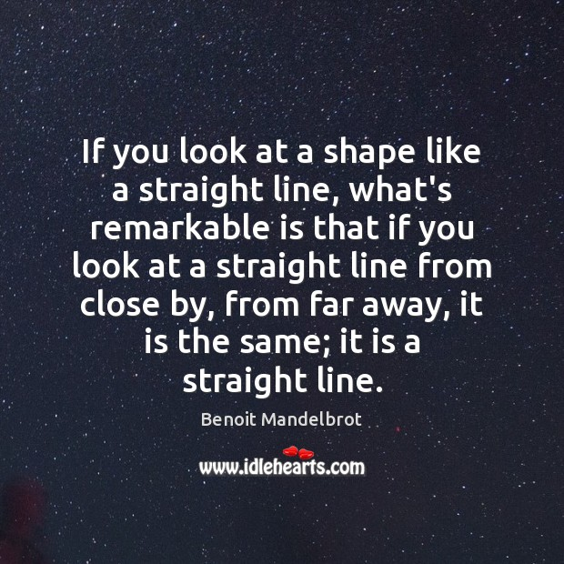 If you look at a shape like a straight line, what's remarkable Benoit Mandelbrot Picture Quote