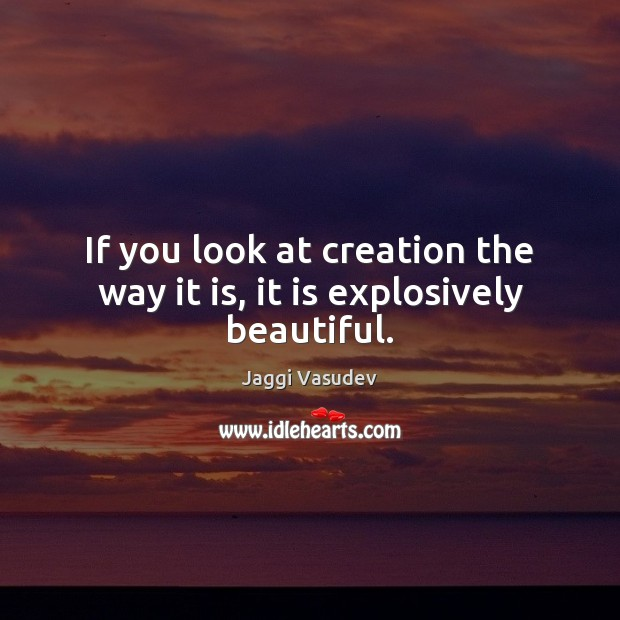 Jaggi Vasudev Picture Quote image saying: If you look at creation the way it is, it is explosively beautiful.