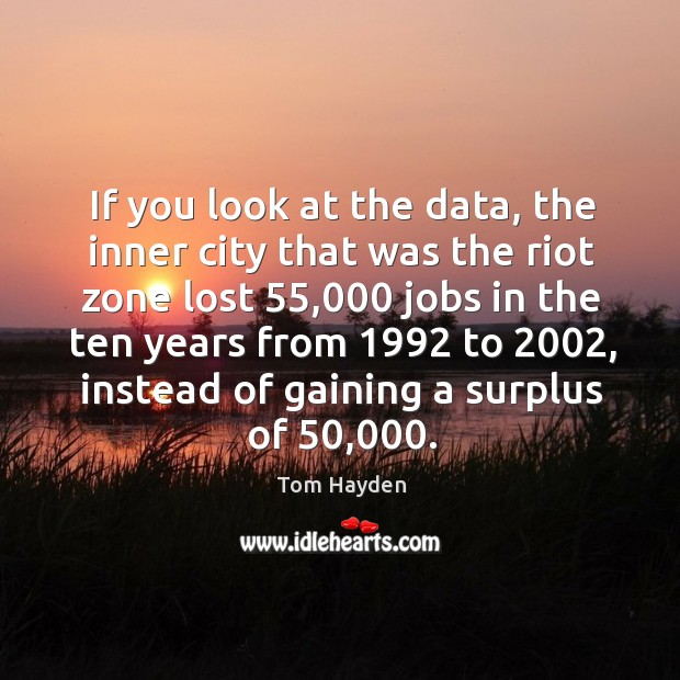 If you look at the data, the inner city that was the riot zone lost 55,000 jobs in the Image