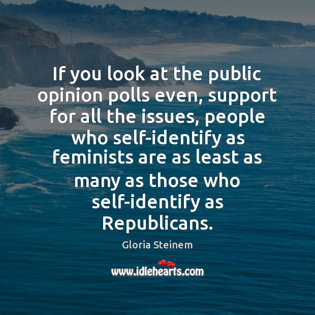 If you look at the public opinion polls even, support for all Gloria Steinem Picture Quote