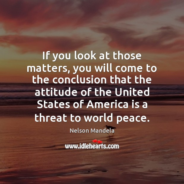 If you look at those matters, you will come to the conclusion Nelson Mandela Picture Quote