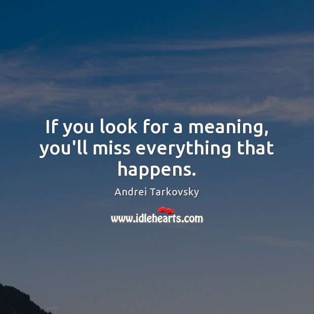 If you look for a meaning, you'll miss everything that happens. Image