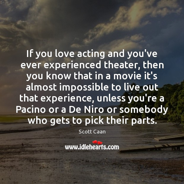 If you love acting and you've ever experienced theater, then you know Scott Caan Picture Quote