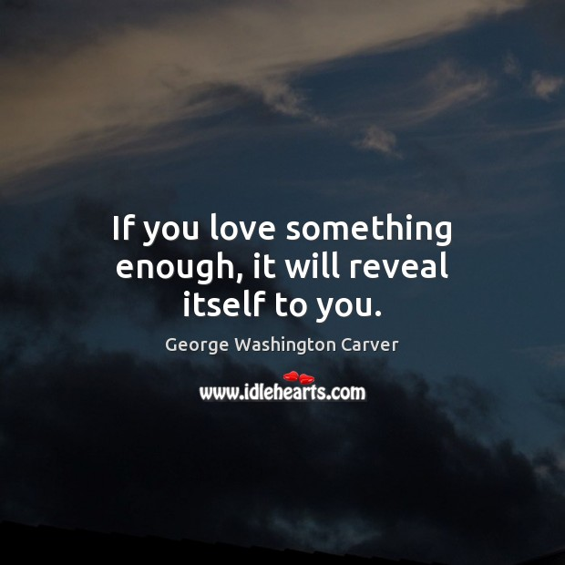 If you love something enough, it will reveal itself to you. Image