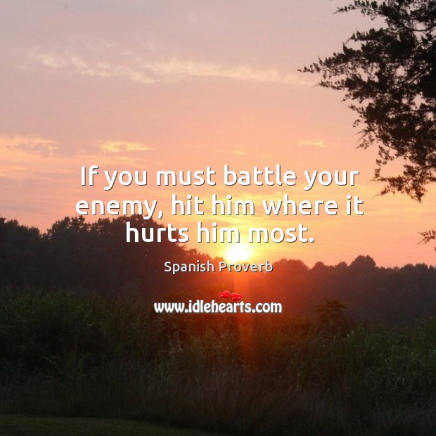 Image, If you must battle your enemy, hit him where it hurts him most.