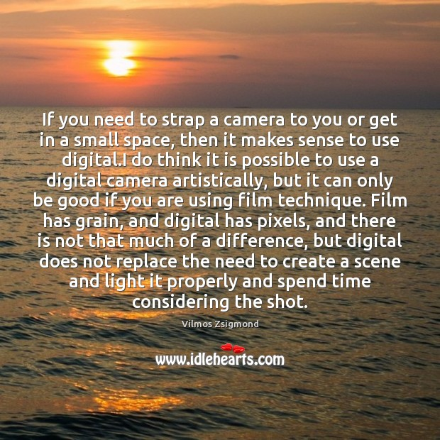 If you need to strap a camera to you or get in Vilmos Zsigmond Picture Quote