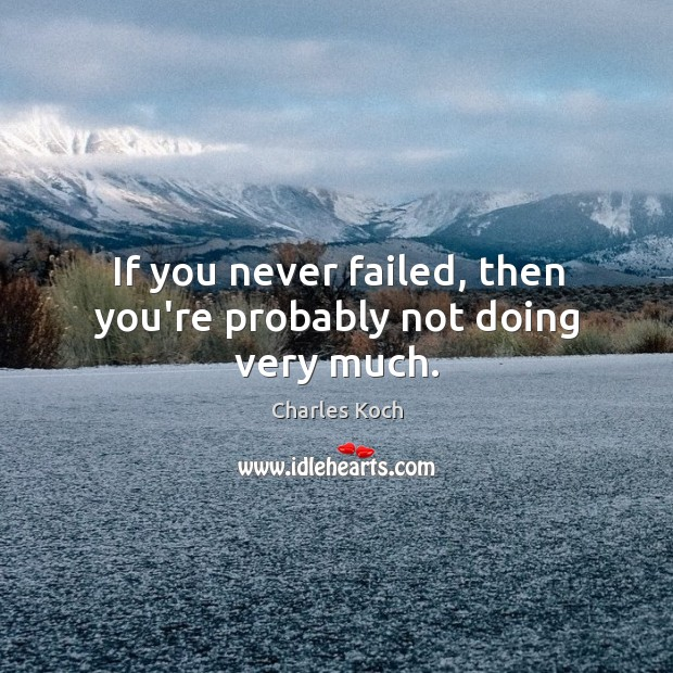 If you never failed, then you're probably not doing very much. Charles Koch Picture Quote
