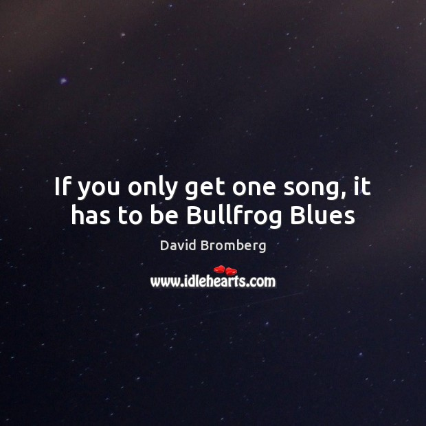 Image, If you only get one song, it has to be Bullfrog Blues