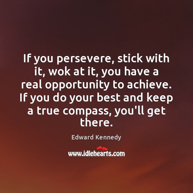 If you persevere, stick with it, wok at it, you have a Image