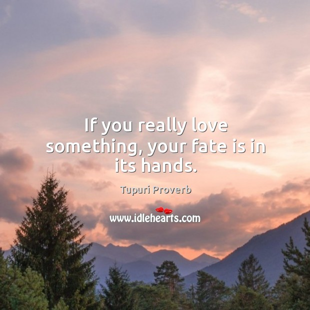 If you really love something, your fate is in its hands. Tupuri Proverbs Image