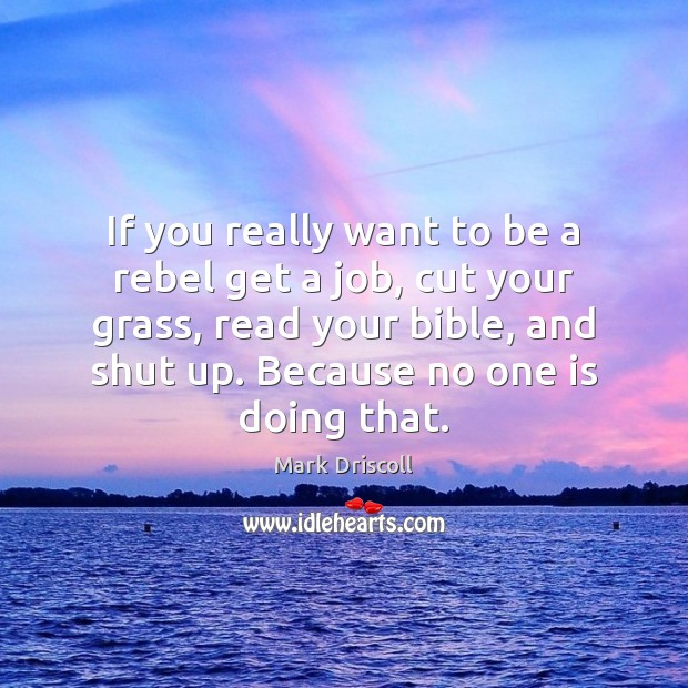 If you really want to be a rebel get a job, cut Mark Driscoll Picture Quote