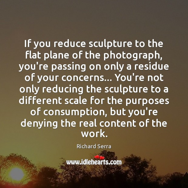 If you reduce sculpture to the flat plane of the photograph, you're Richard Serra Picture Quote