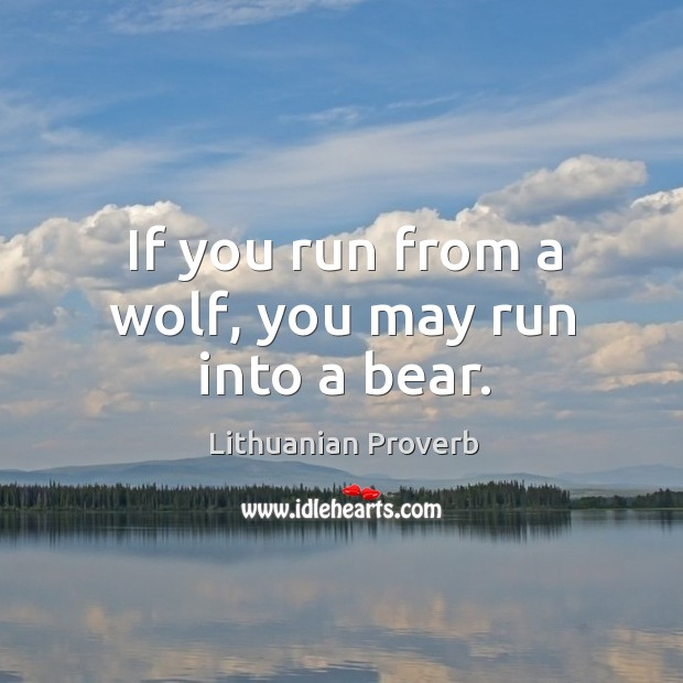 Image, If you run from a wolf, you may run into a bear.