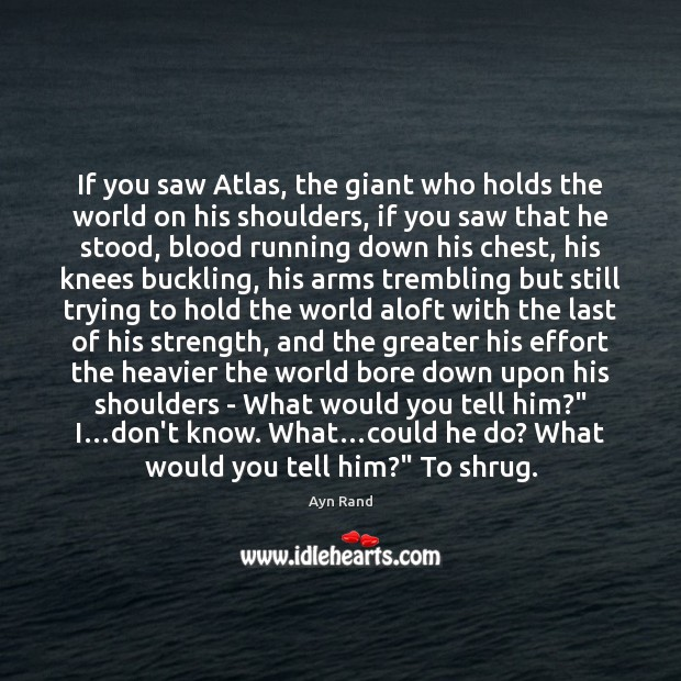 Image, If you saw Atlas, the giant who holds the world on his