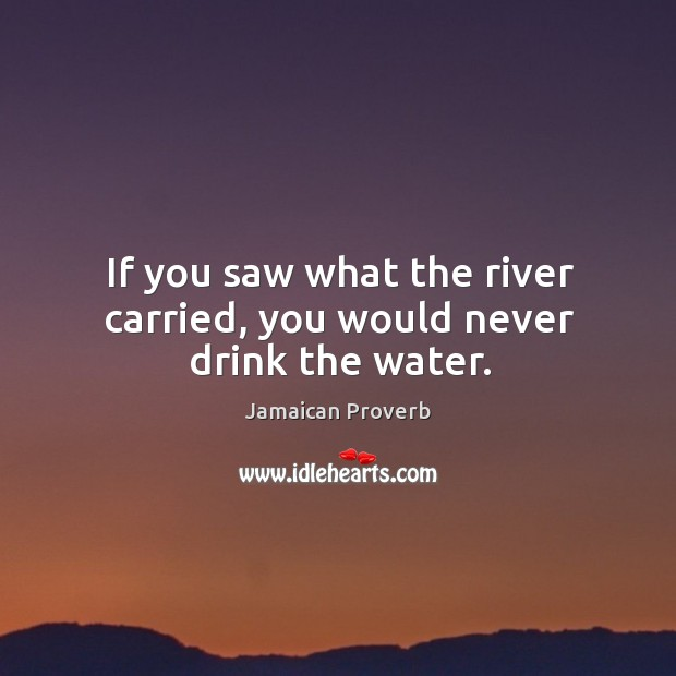 If you saw what the river carried, you would never drink the water. Jamaican Proverbs Image
