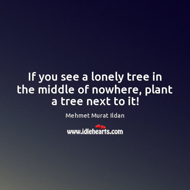 Image, If you see a lonely tree in the middle of nowhere, plant a tree next to it!