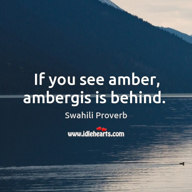 If you see amber, ambergis is behind. Swahili Proverbs Image
