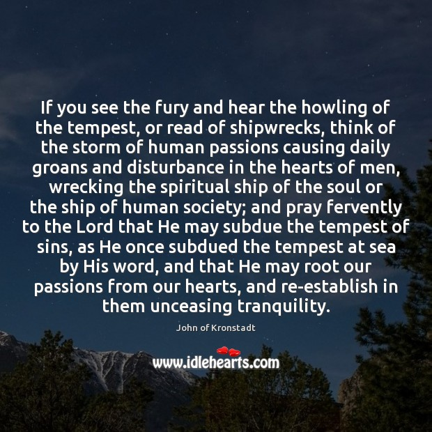 If you see the fury and hear the howling of the tempest, John of Kronstadt Picture Quote