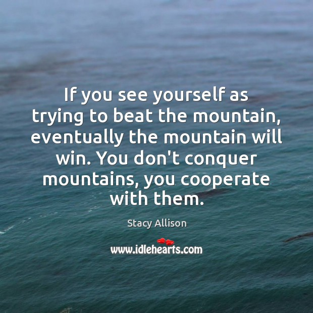 Image, If you see yourself as trying to beat the mountain, eventually the