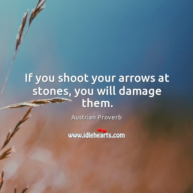 If you shoot your arrows at stones, you will damage them. Austrian Proverbs Image