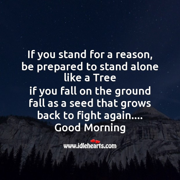 If you stand for a reason, be prepared to stand alone like a tree Image