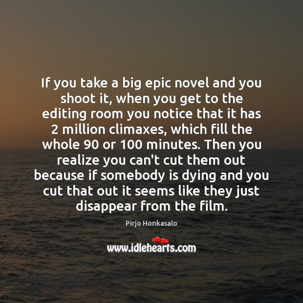 If you take a big epic novel and you shoot it, when Pirjo Honkasalo Picture Quote
