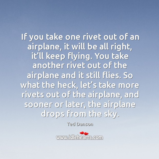 If you take one rivet out of an airplane, it will be all right, it'll keep flying. Ted Danson Picture Quote