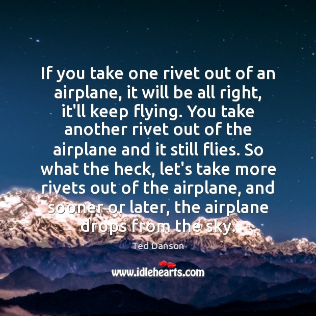 If you take one rivet out of an airplane, it will be Ted Danson Picture Quote